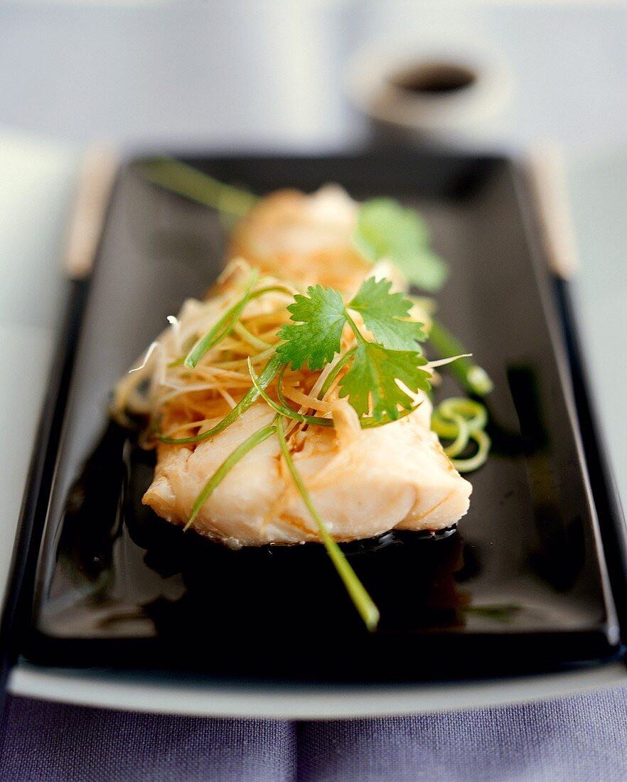 Steamed fish fillet with coriander leaves (Cantonese style)