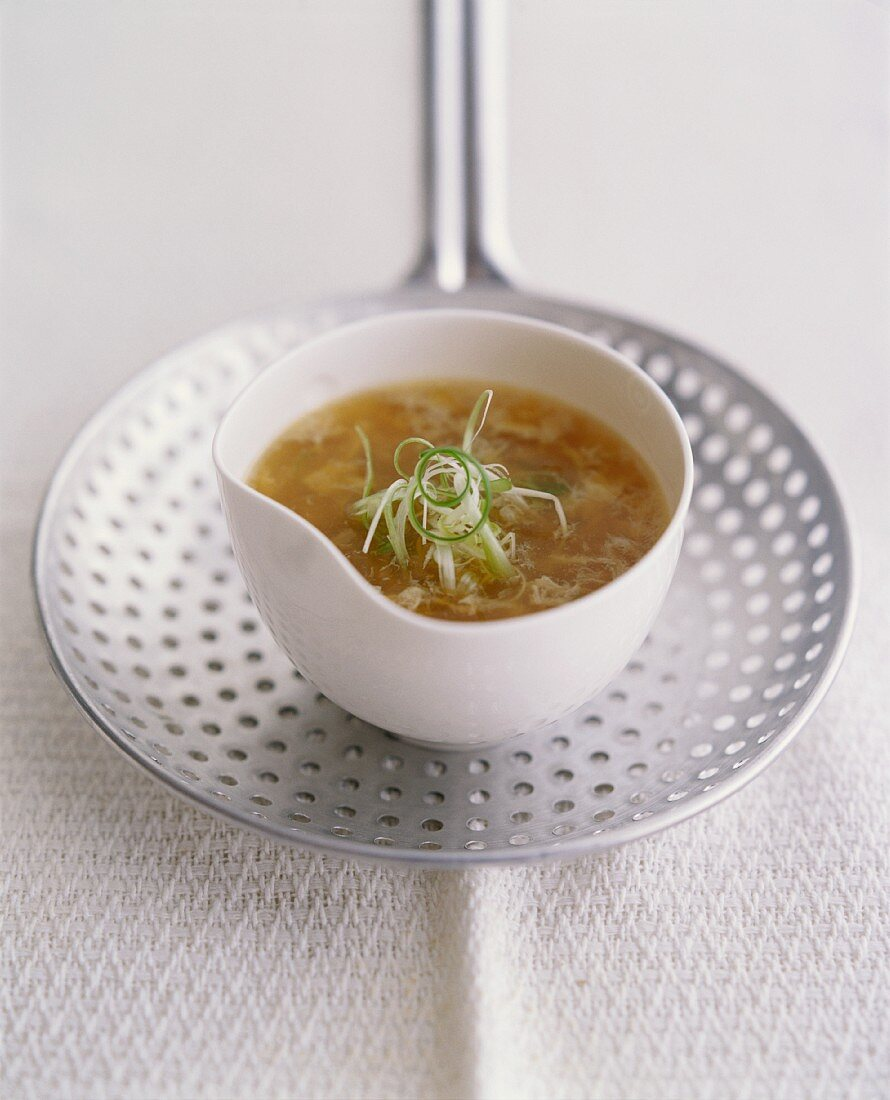 Chinese egg drop soup with spring onions