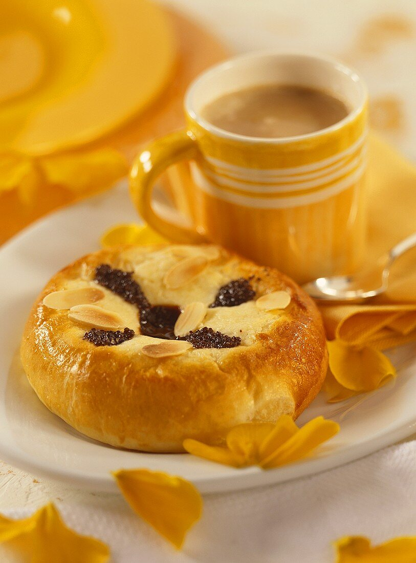 Bohemian kolatschen (yeast cakes ) and cup of coffee