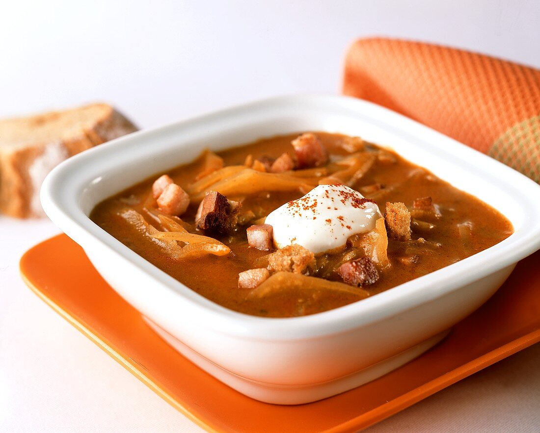 Spicy white cabbage soup with bacon and sour cream