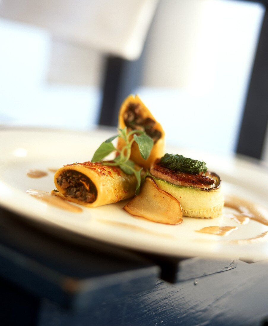 Quail breast wrapped in courgette with mushroom cannelloni