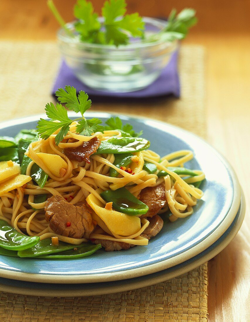 Pork fillet with mangetouts, bamboo and noodles