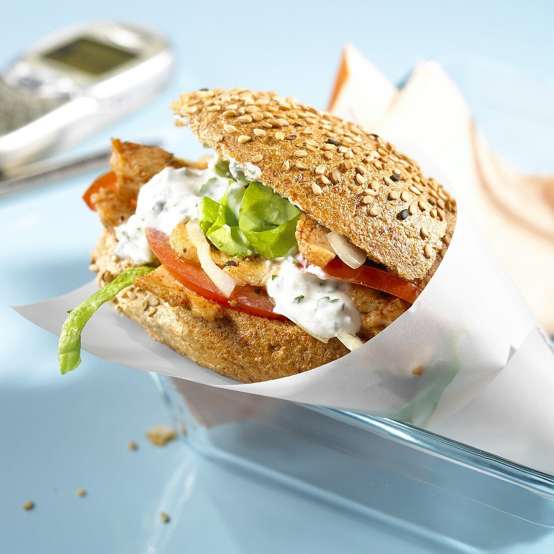 Wholemeal roll with gyros for lunch