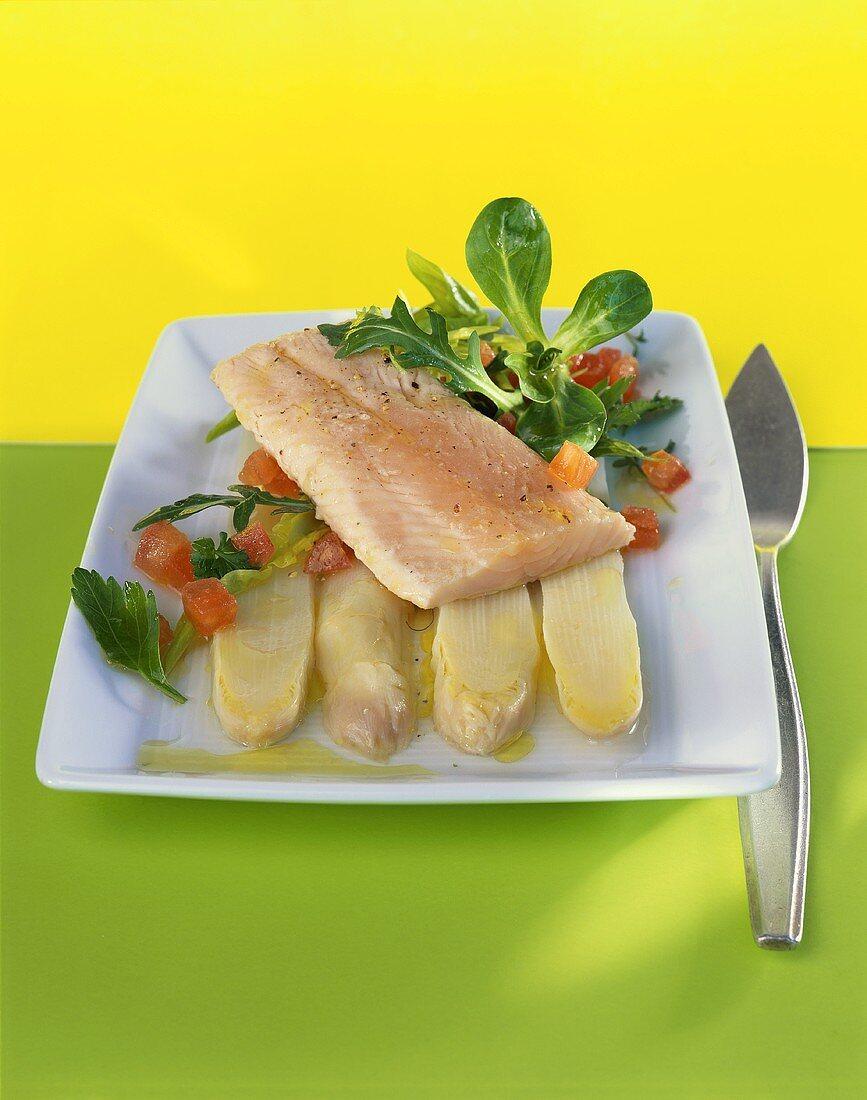 Brook trout fillet on white asparagus