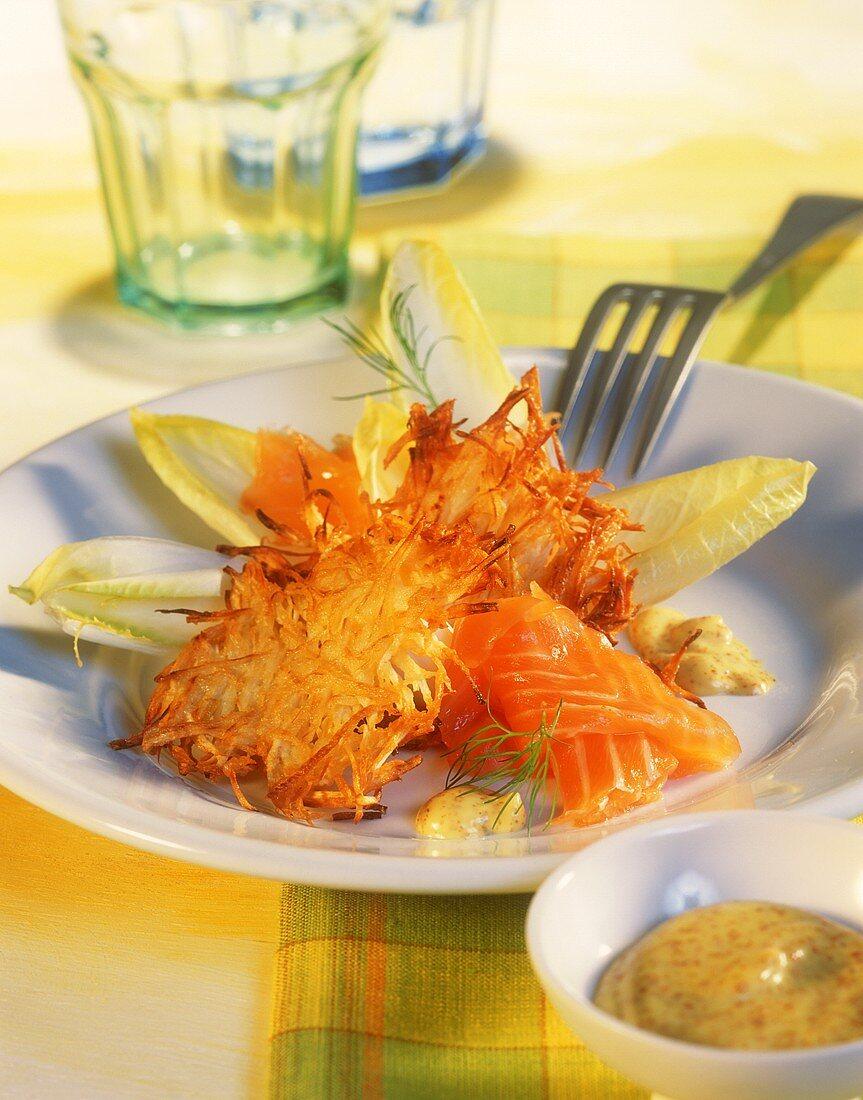 Celeriac rösti with smoked salmon