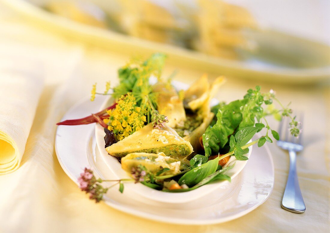 Swabian Maultaschen (pasta envelopes) with salad