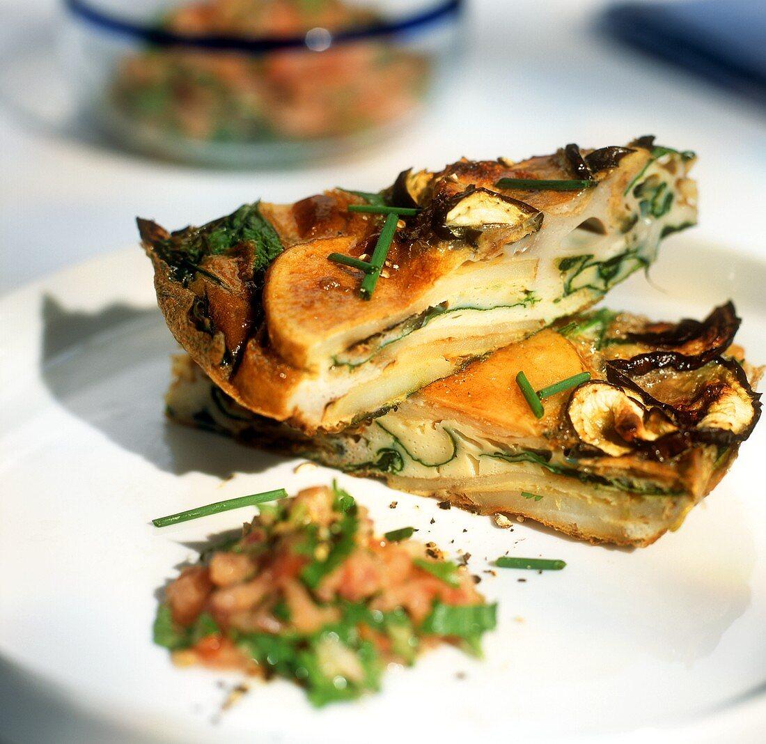 Potato tortilla with mushrooms