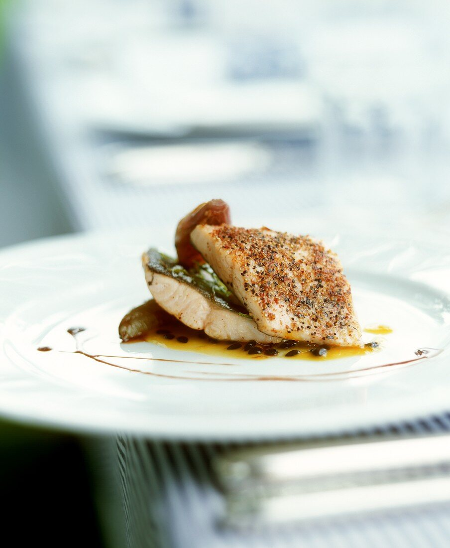 Brook trout with figs