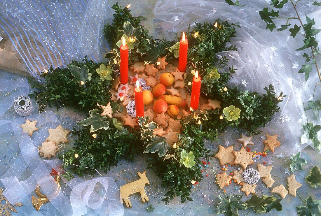 Advent wreath with biscuits and marzipan fruit