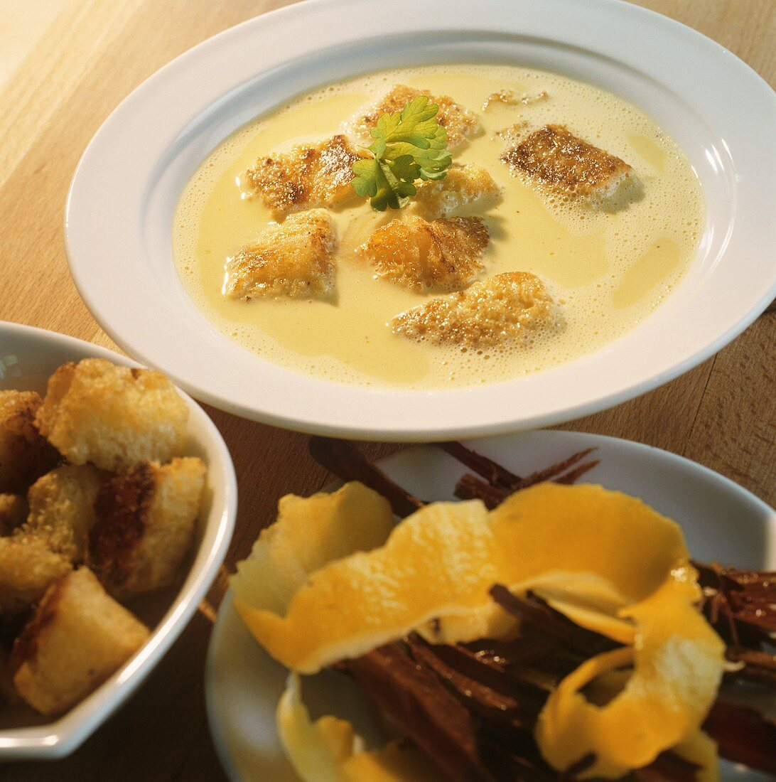 Kölschsuppe (beer soup) with croutons