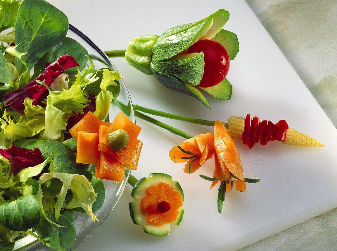 Assorted vegetables garnishes