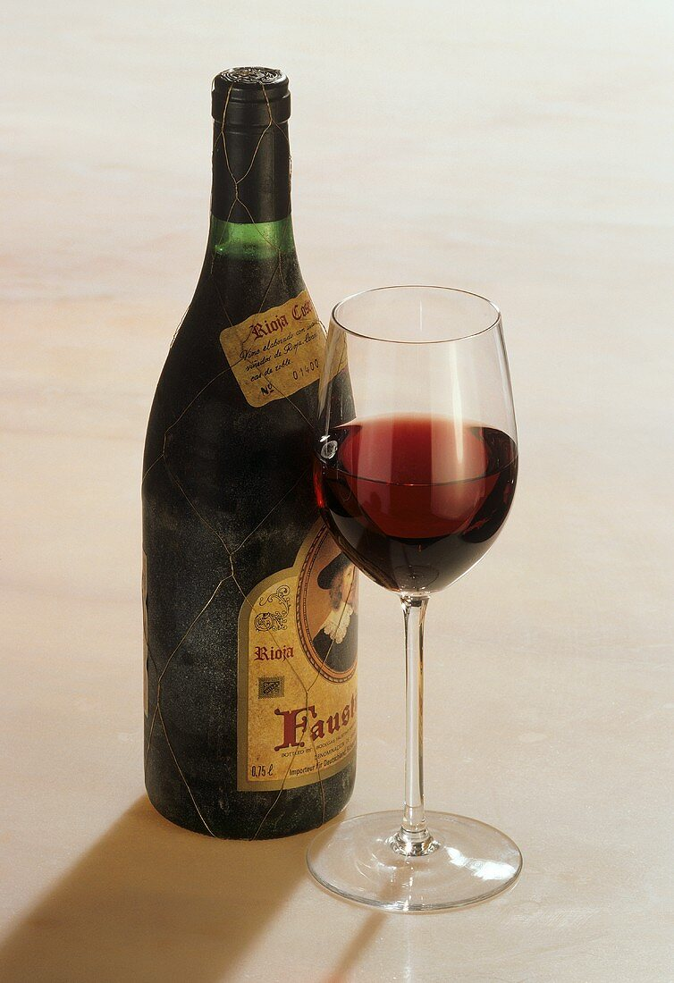 Spanish red wine with glass