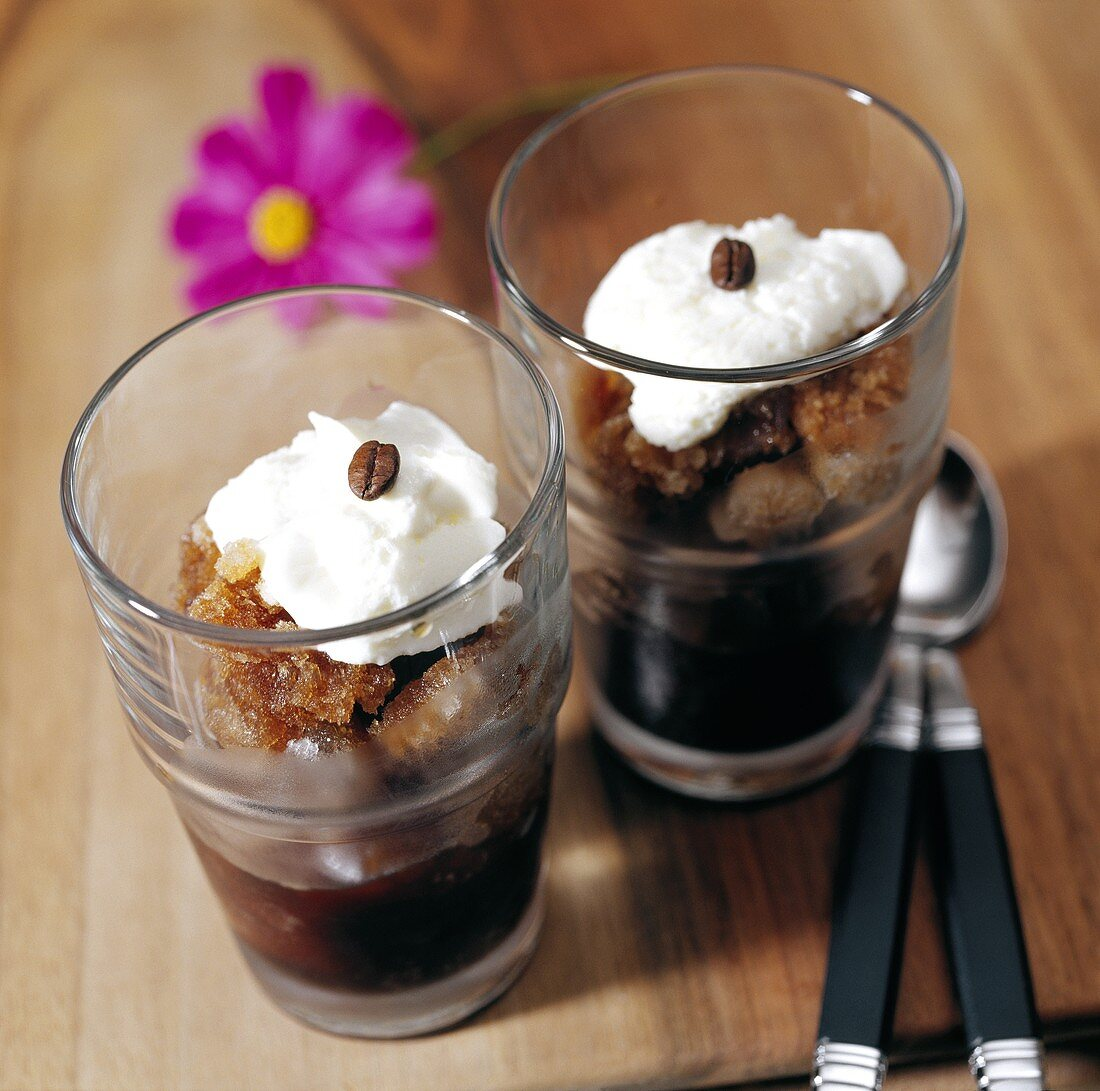 Coffee sorbet with cream in glasses