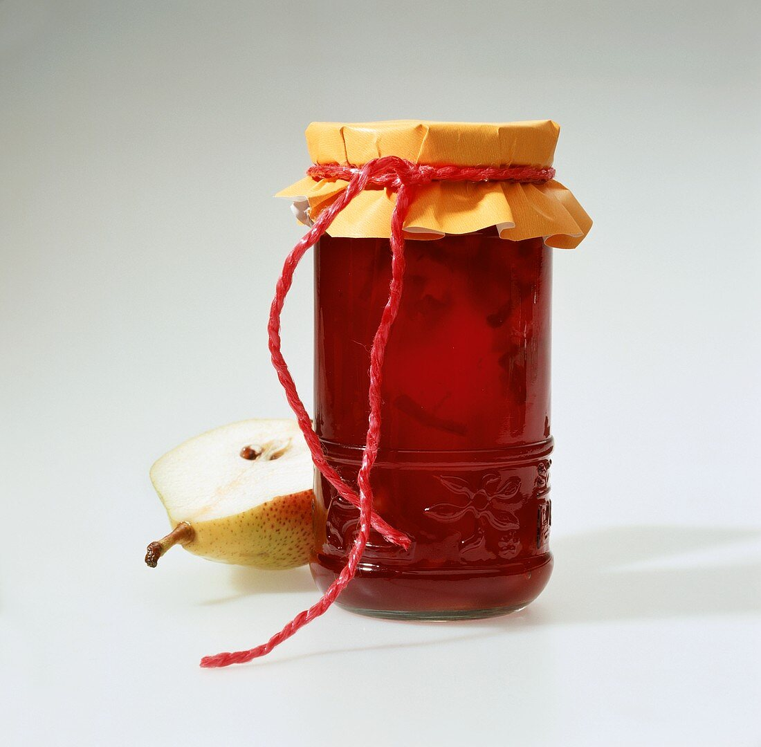 Plum and pear jam in jar