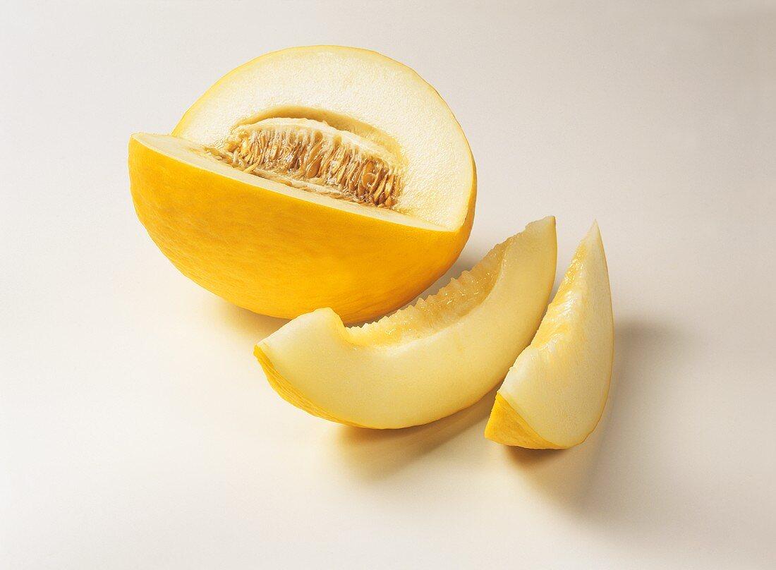 A honeydew melon, cut into