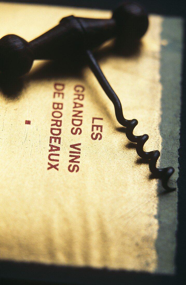 Corkscrew on label; Les Grands Vins de Bordeaux
