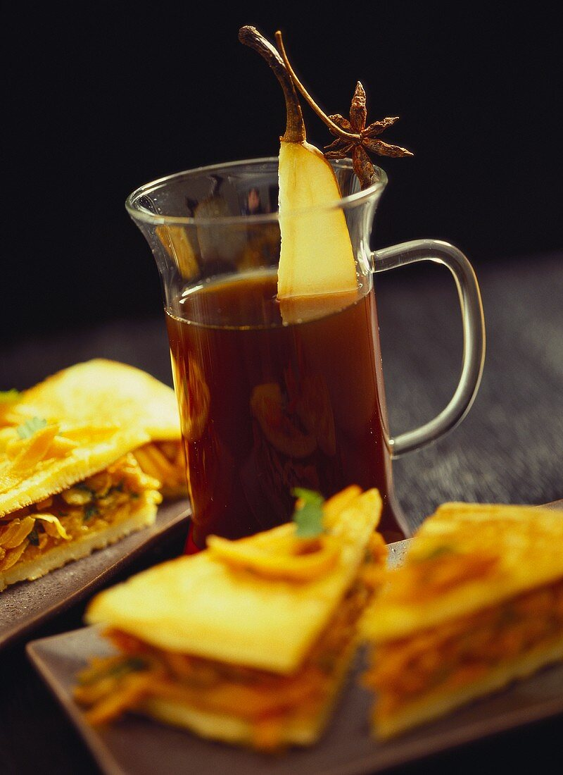 Coffee with star anise and pear with spicy pancakes