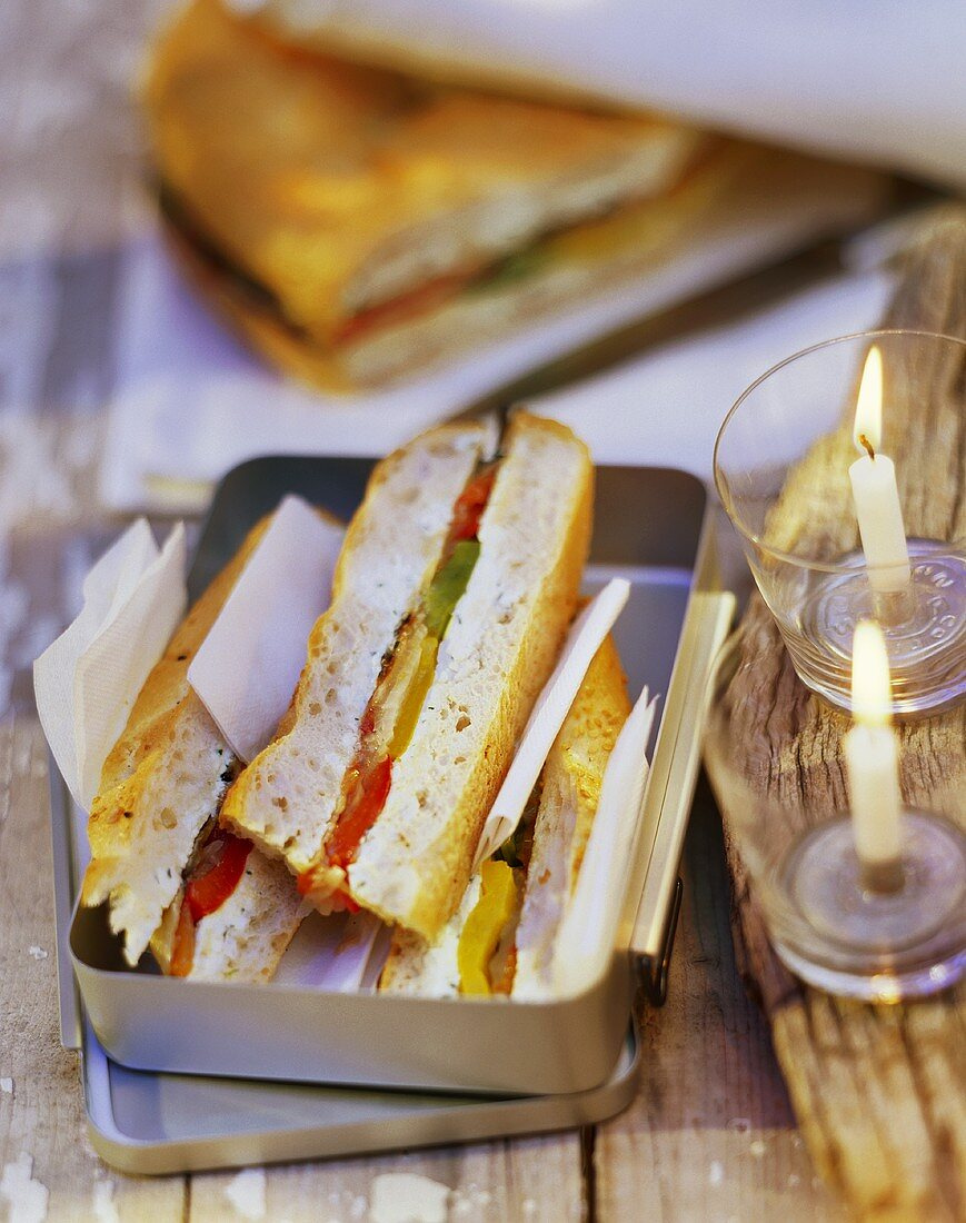 Flatbread cake with aubergines and peppers for picnic
