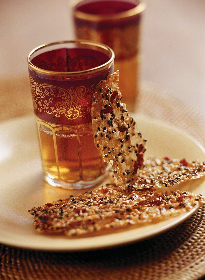 Sesame praline with rose petals to serve with tea