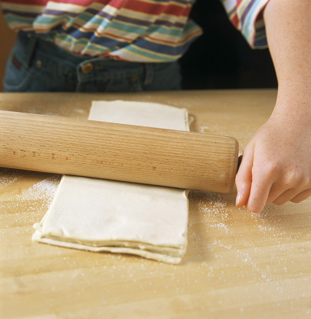 Rolling out puff pastry