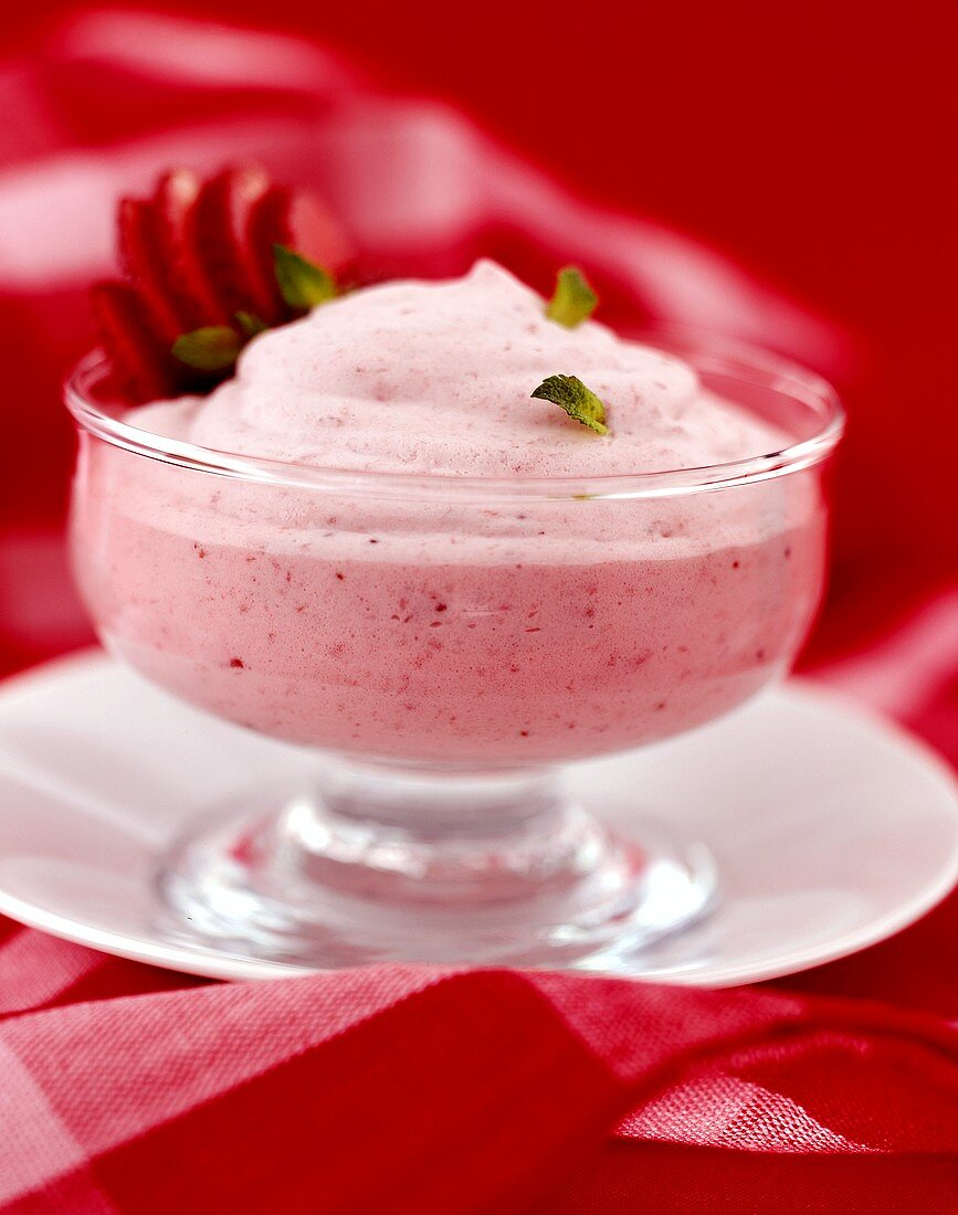 Strawberry mousse in a dessert glass