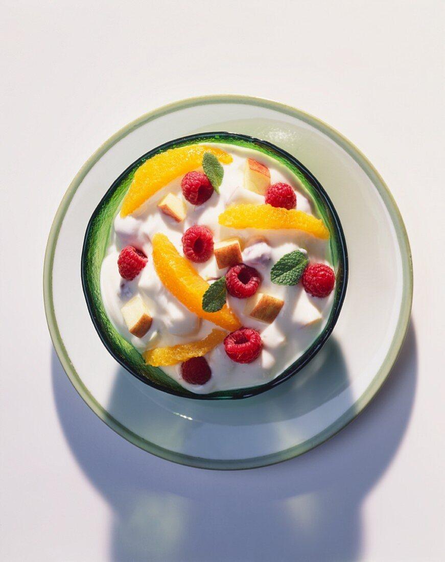 A Bowl of Plain Yogurt Mixed with Fresh Fruit