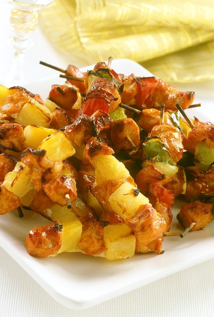 Grilled chicken and pineapple kebabs