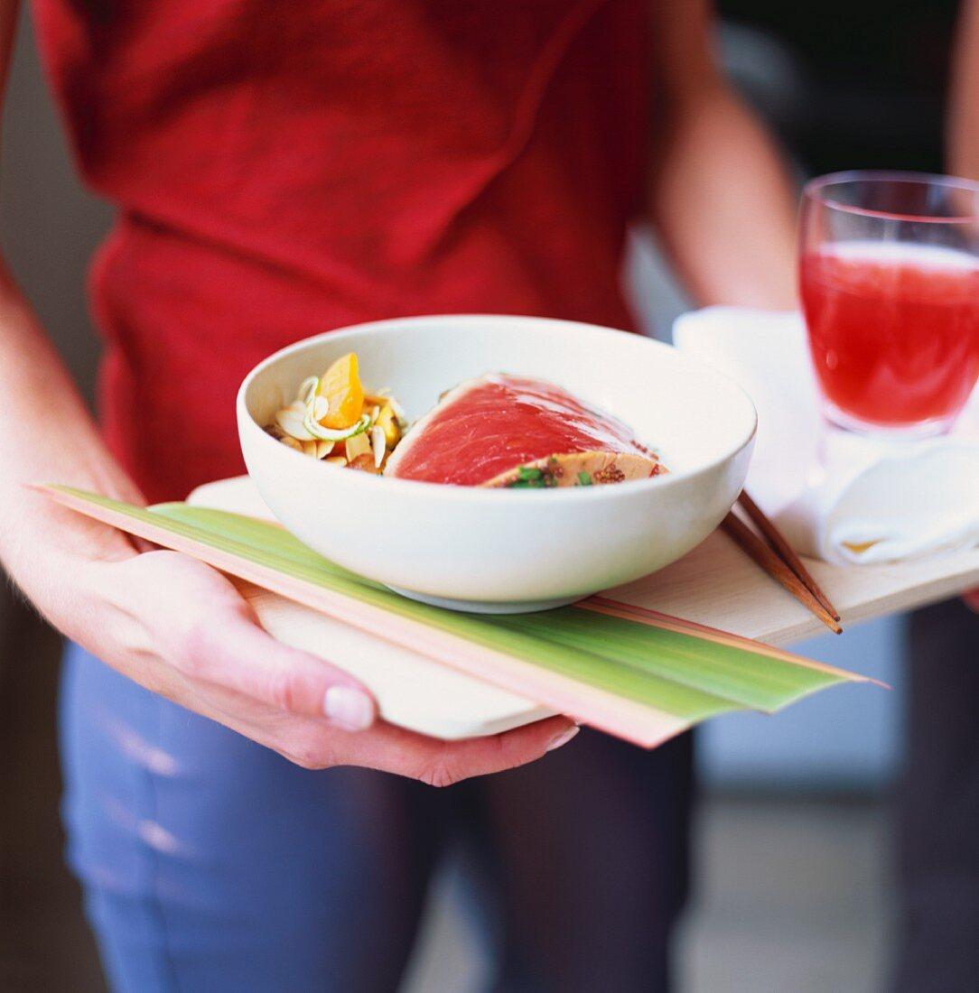 Tuna steak, Japanese style, with cranberry juice