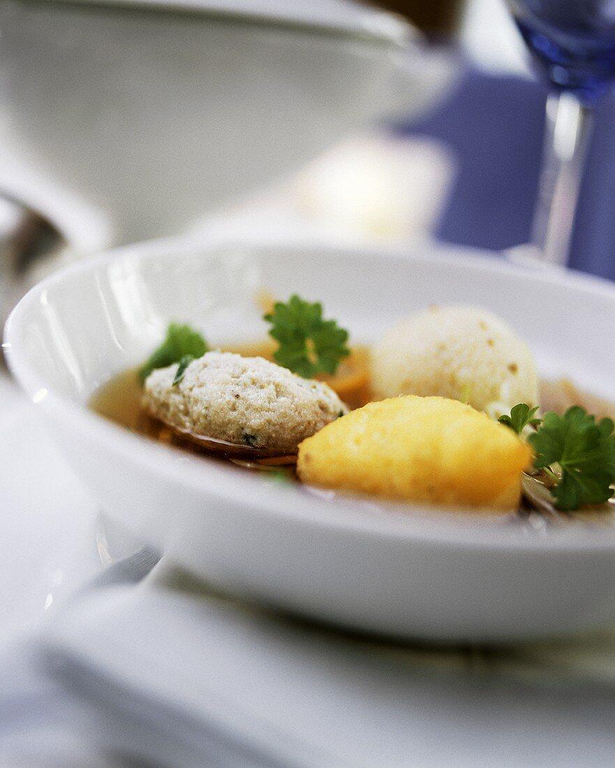 Festive soup with dumplings