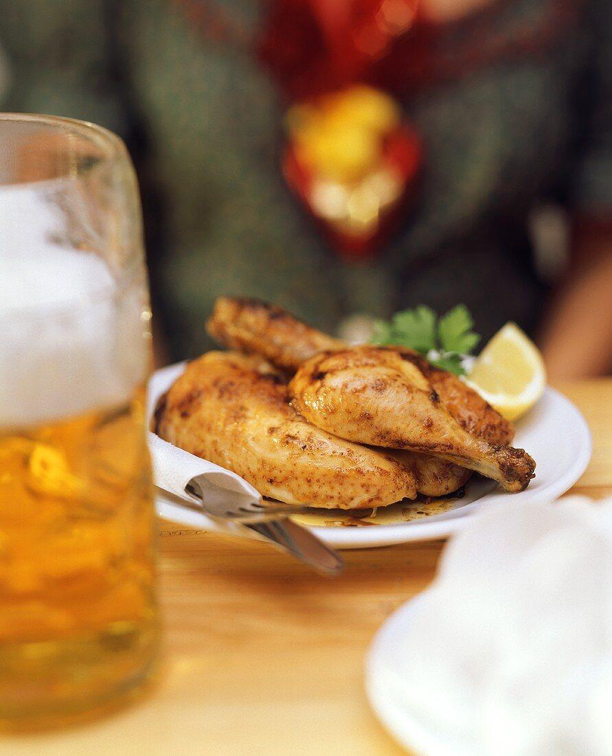 Roast chicken and litre of beer