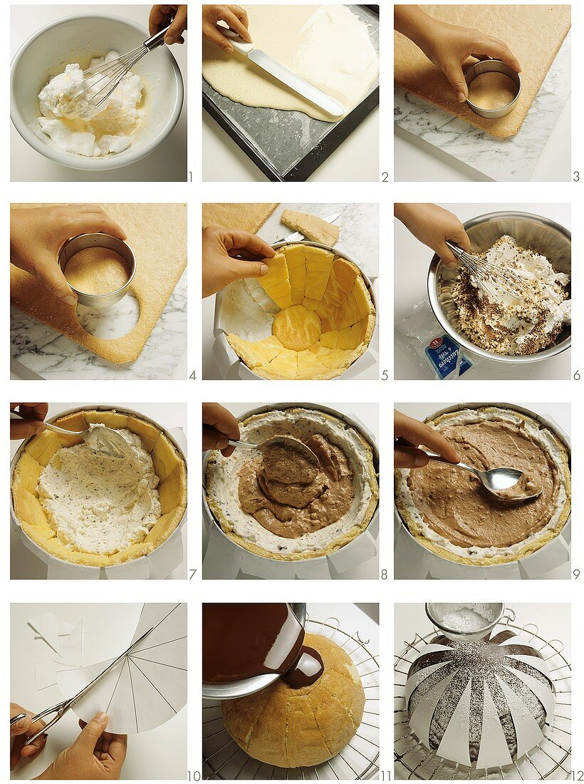 Making zuccotto (dome cake), Italy