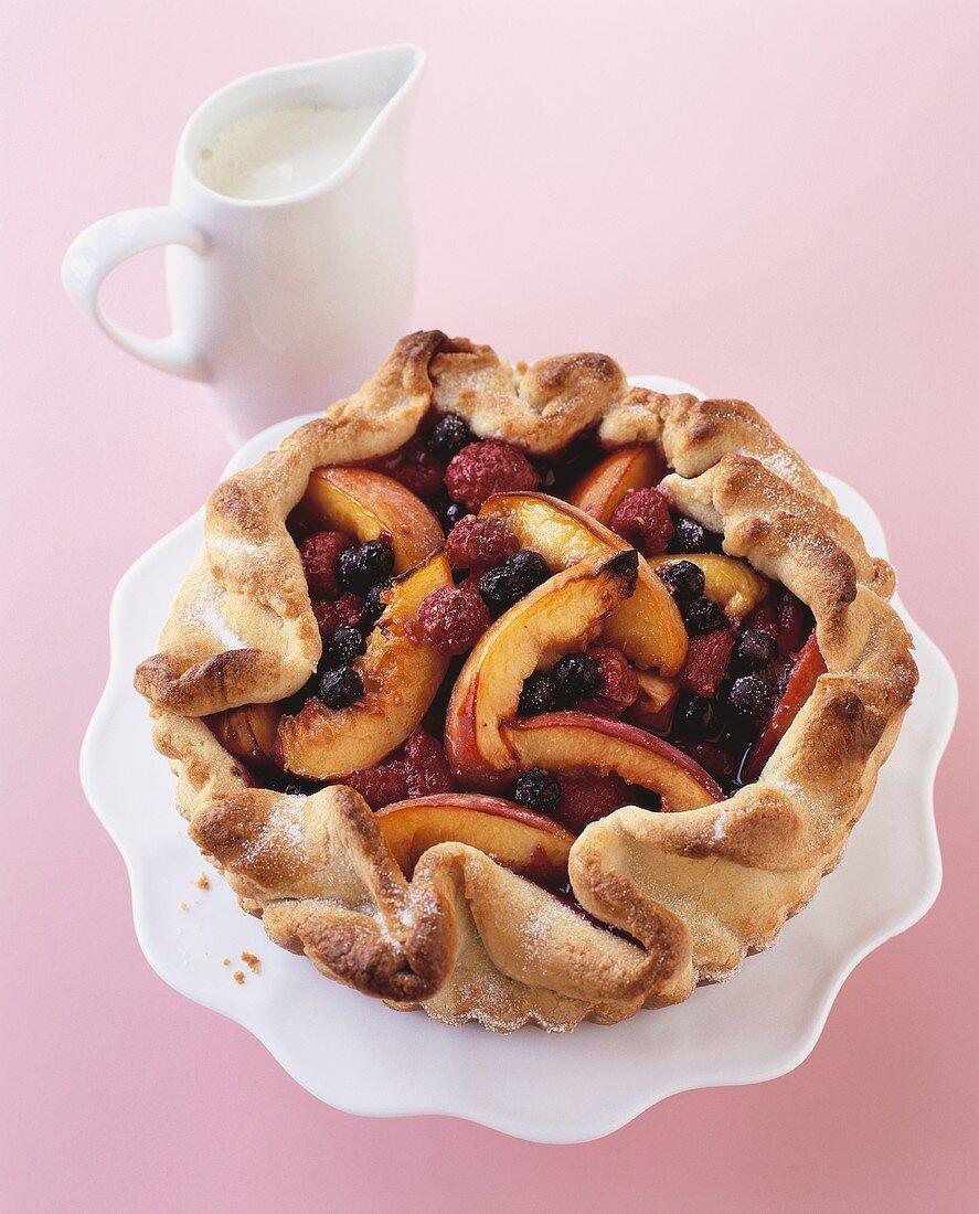 Berry and nectarine tart (gluten-free)