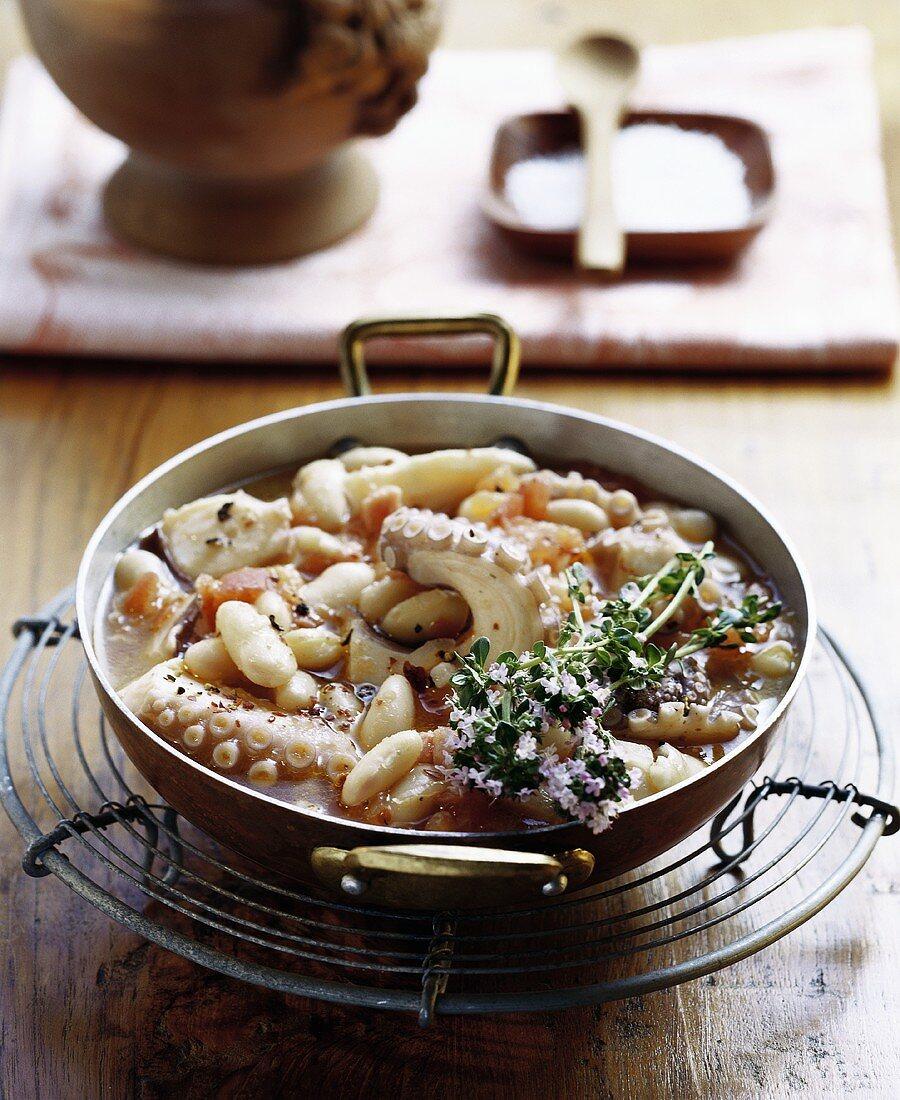 Polpo con fagioli (octopus with beans), Tuscany, Italy