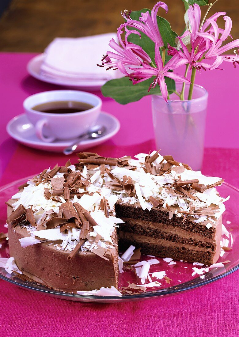 Chocolate gateau with truffle cream and chocolate curls