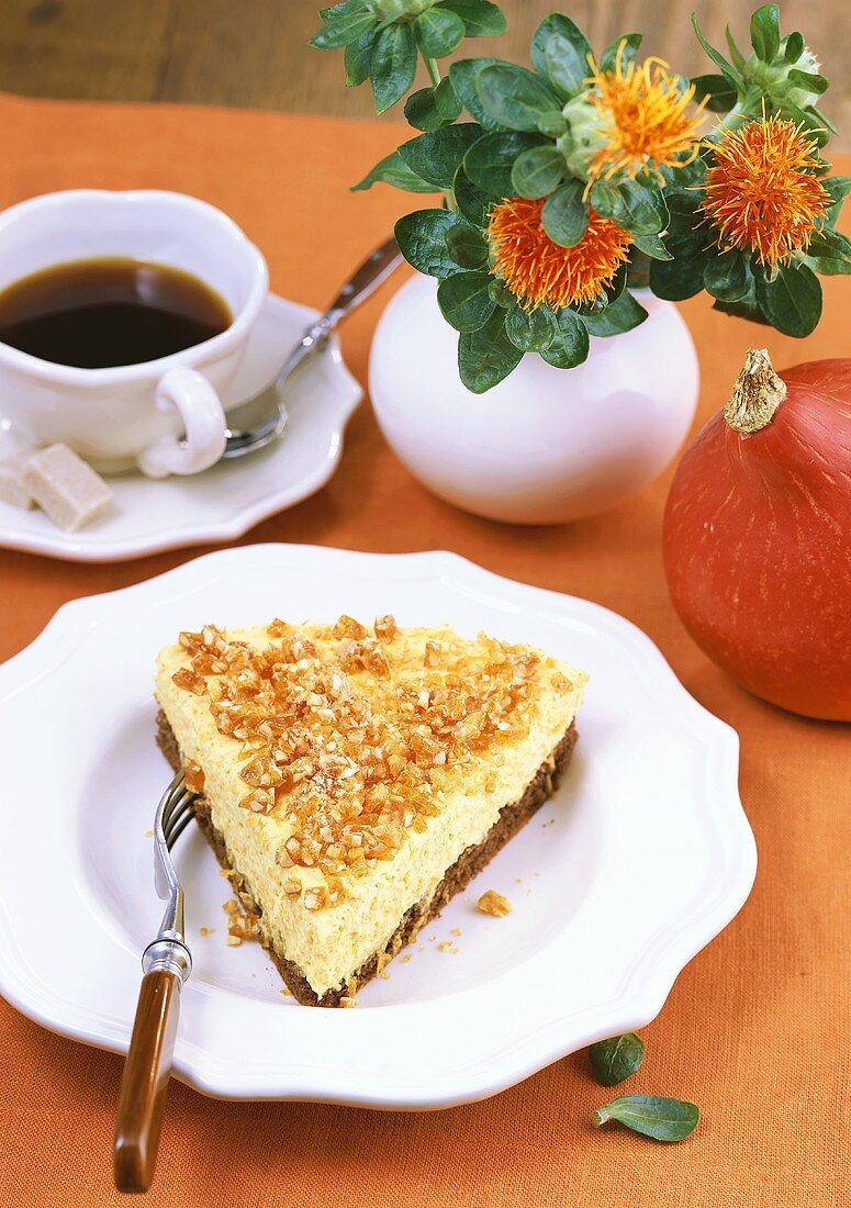 Piece of honey pumpkin cake with praline