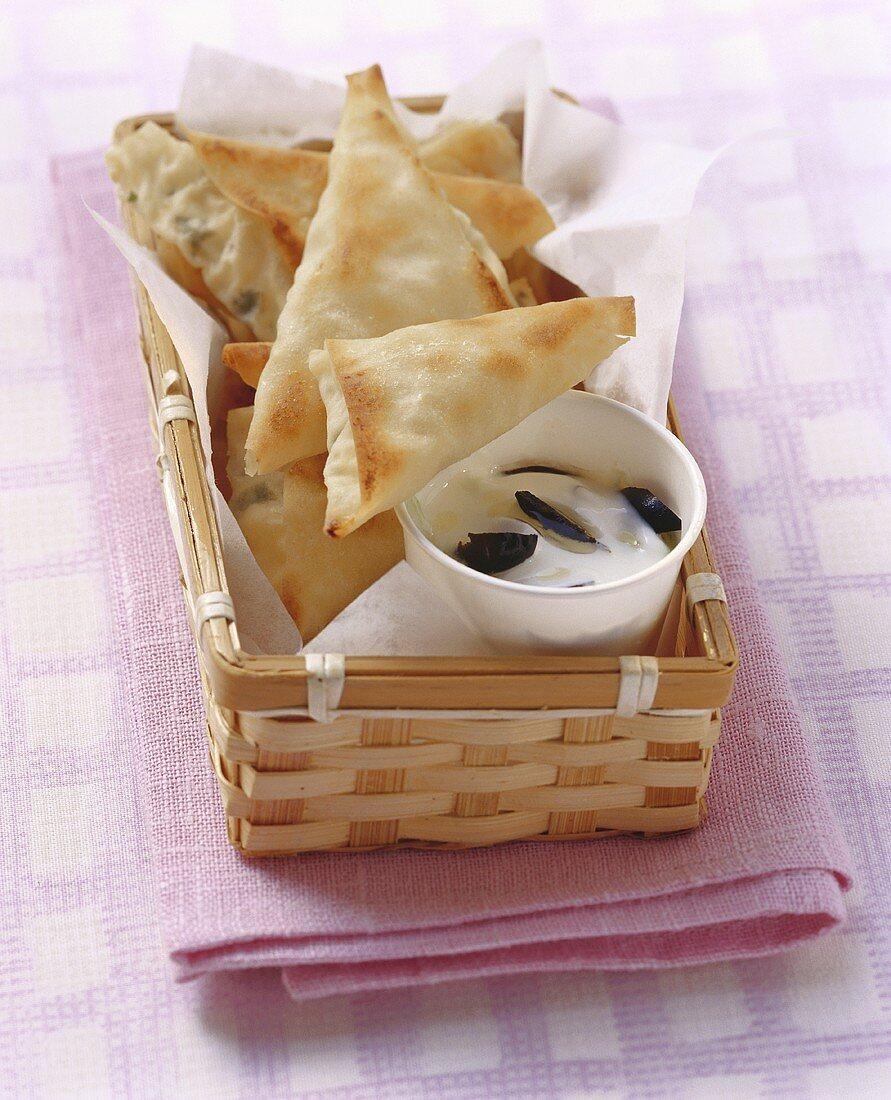 Börek with cacik (pasties with cucumber yoghurt dip, Turkey)