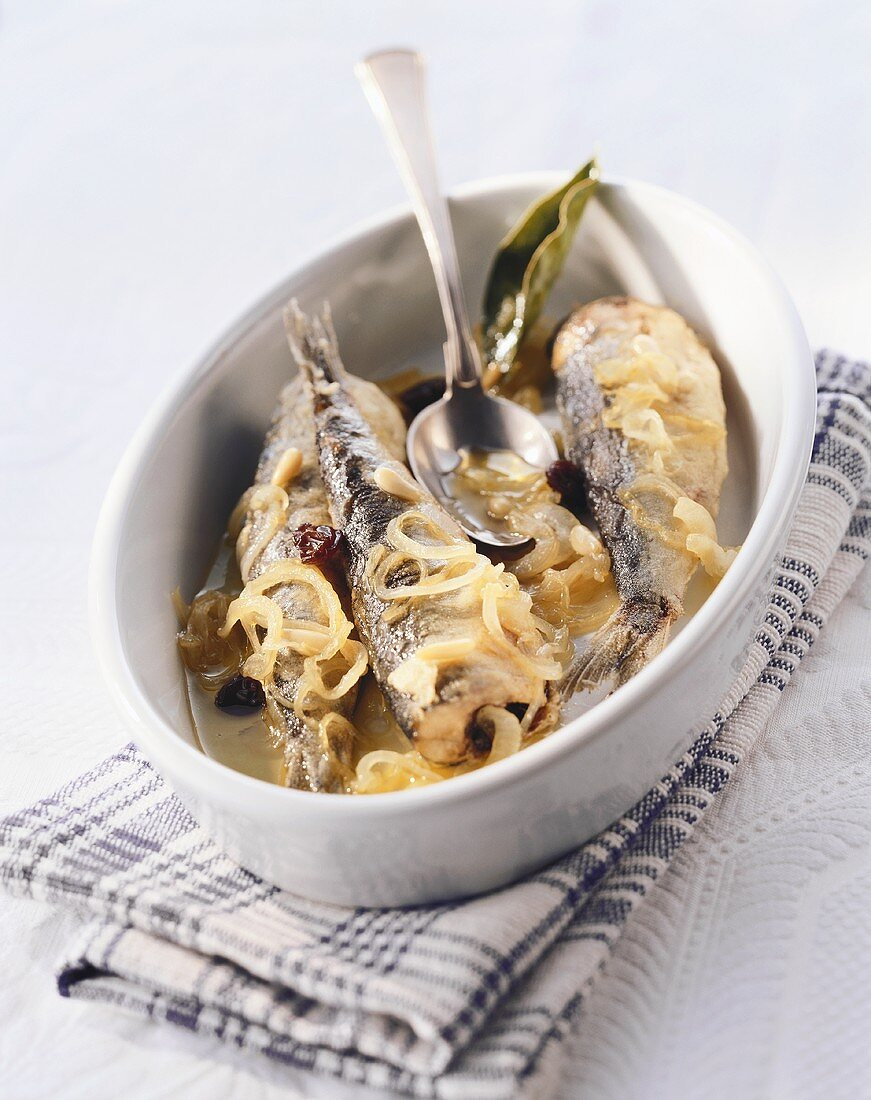 Sarde in saor (sardines in sweet and sour marinade, Italy)