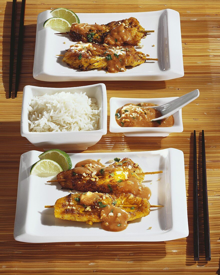 Red snapper saté with rice and peanut sauce