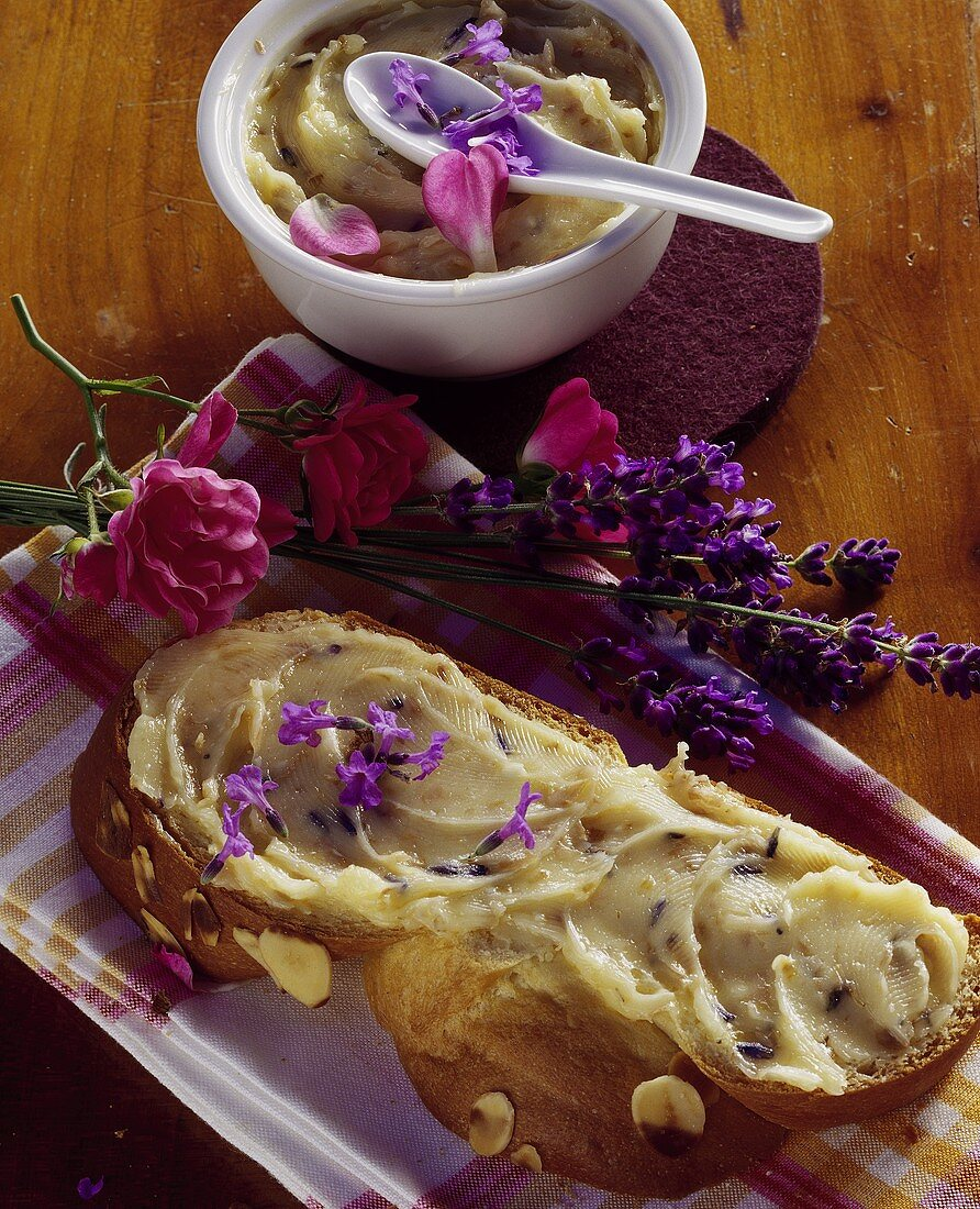 Bread plait with lavender and rose butter