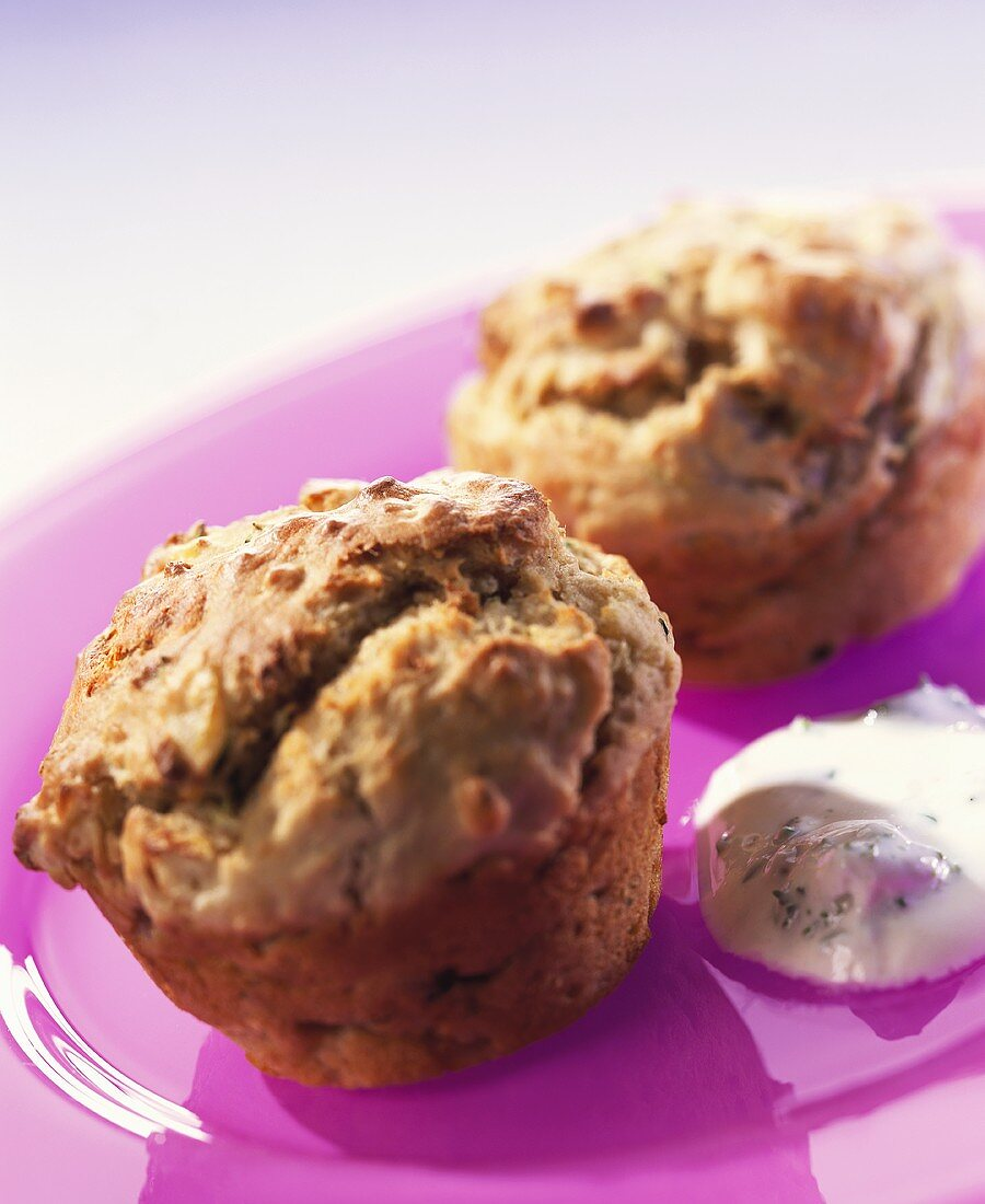 Ham and potato muffins with herb quark for children