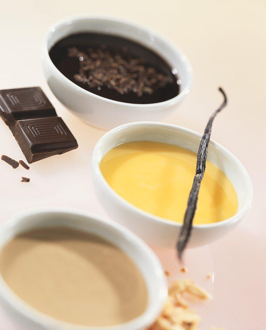 Caramel sauce, custard and chocolate sauce