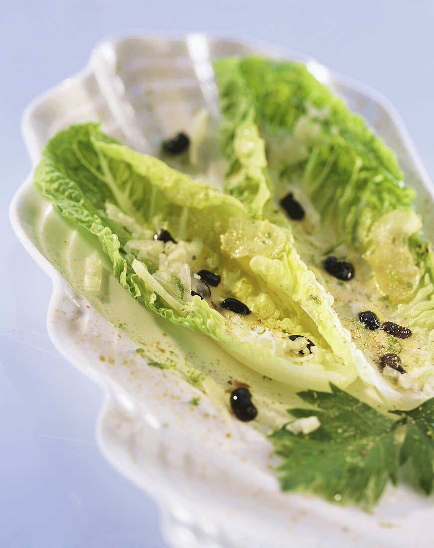 Romaine lettuce with black beans and grated cheese