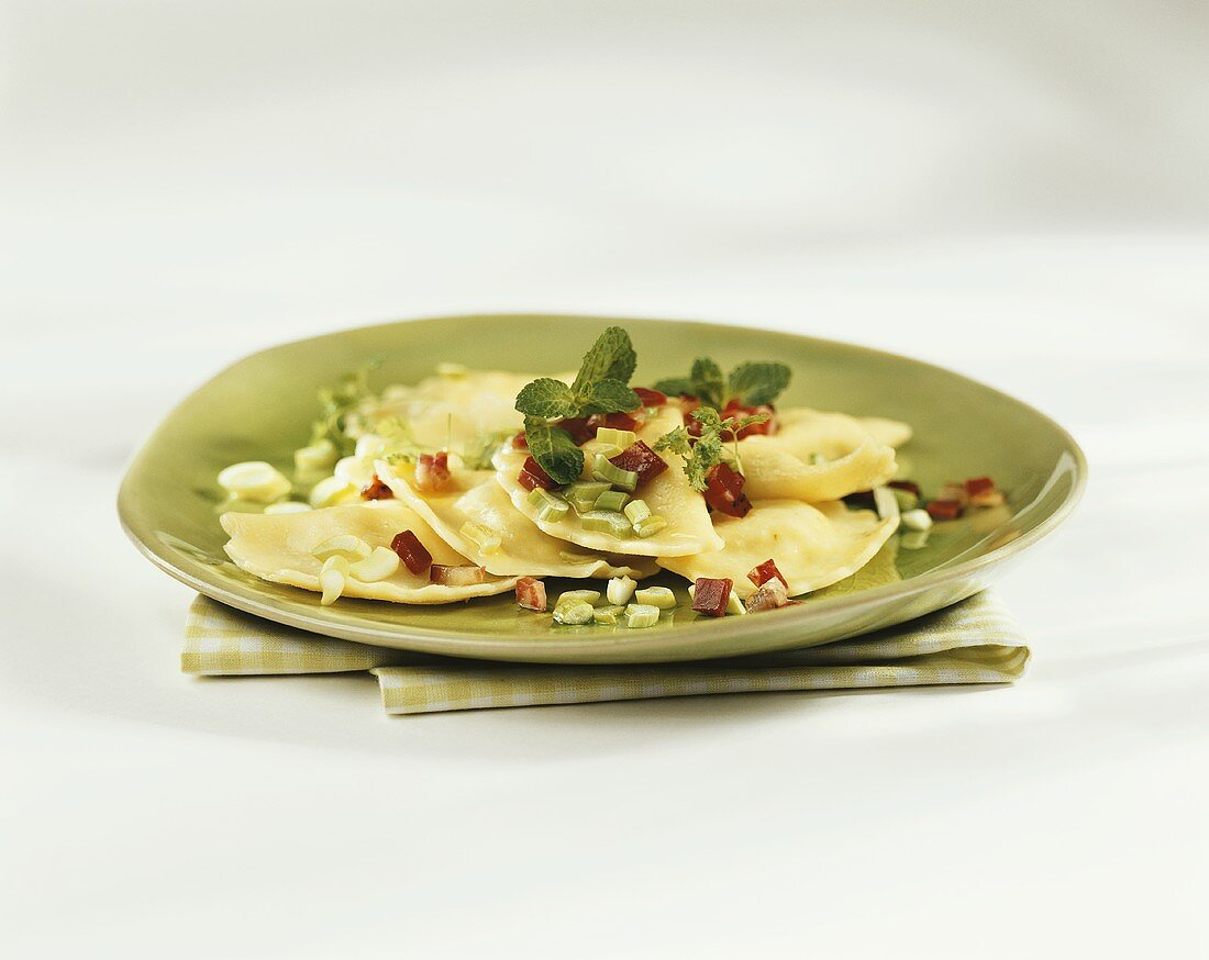 Carinthian Kasnudeln (filled pasta) with spring onions & bacon