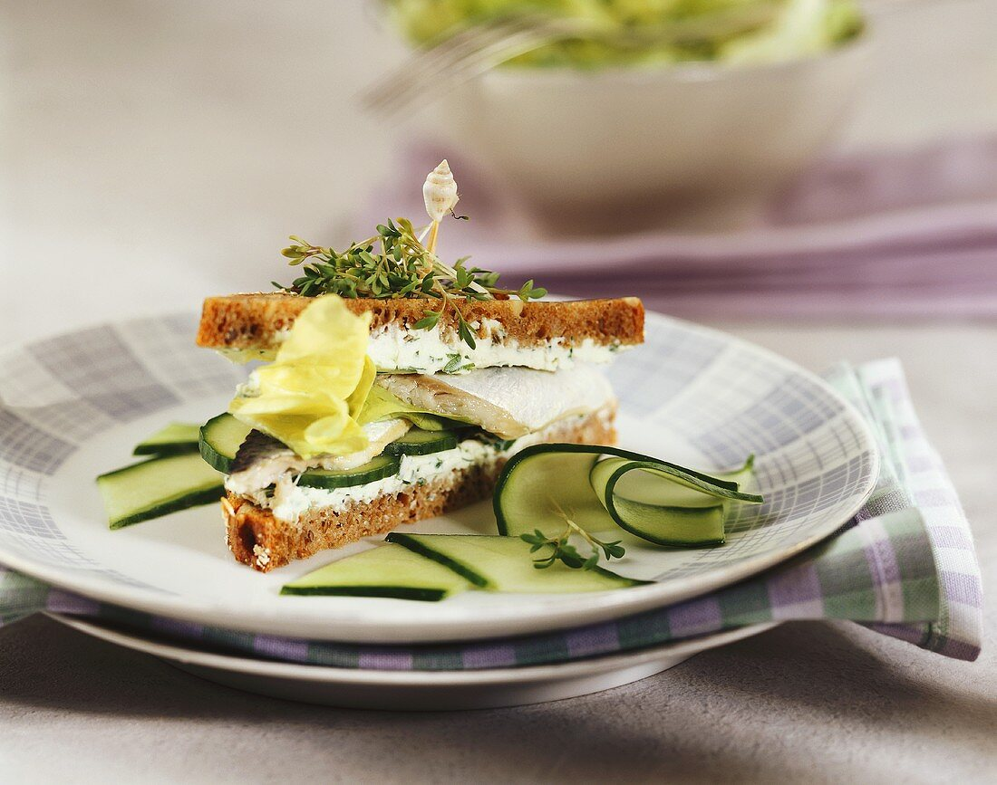 Tramezzini with fresh cheese, cucumber and fish