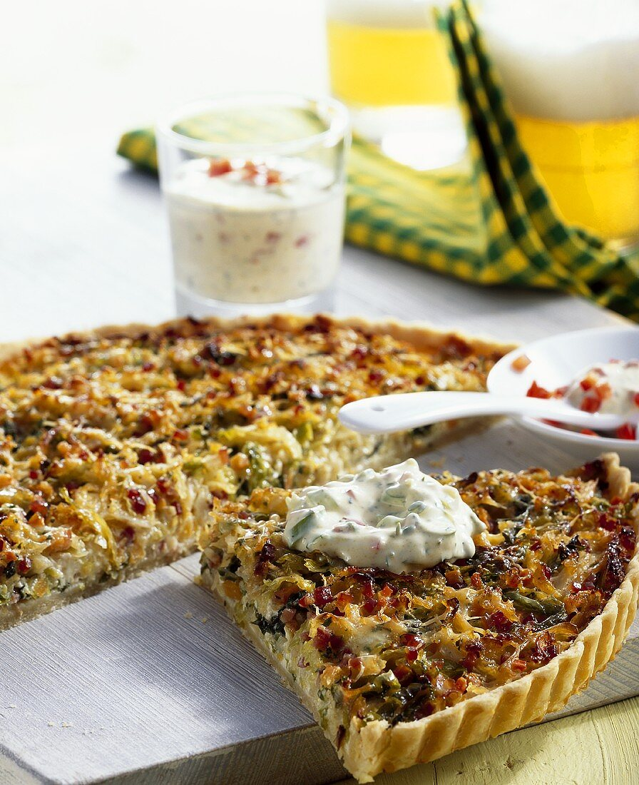 Savoy quiche with yoghurt and cress dip