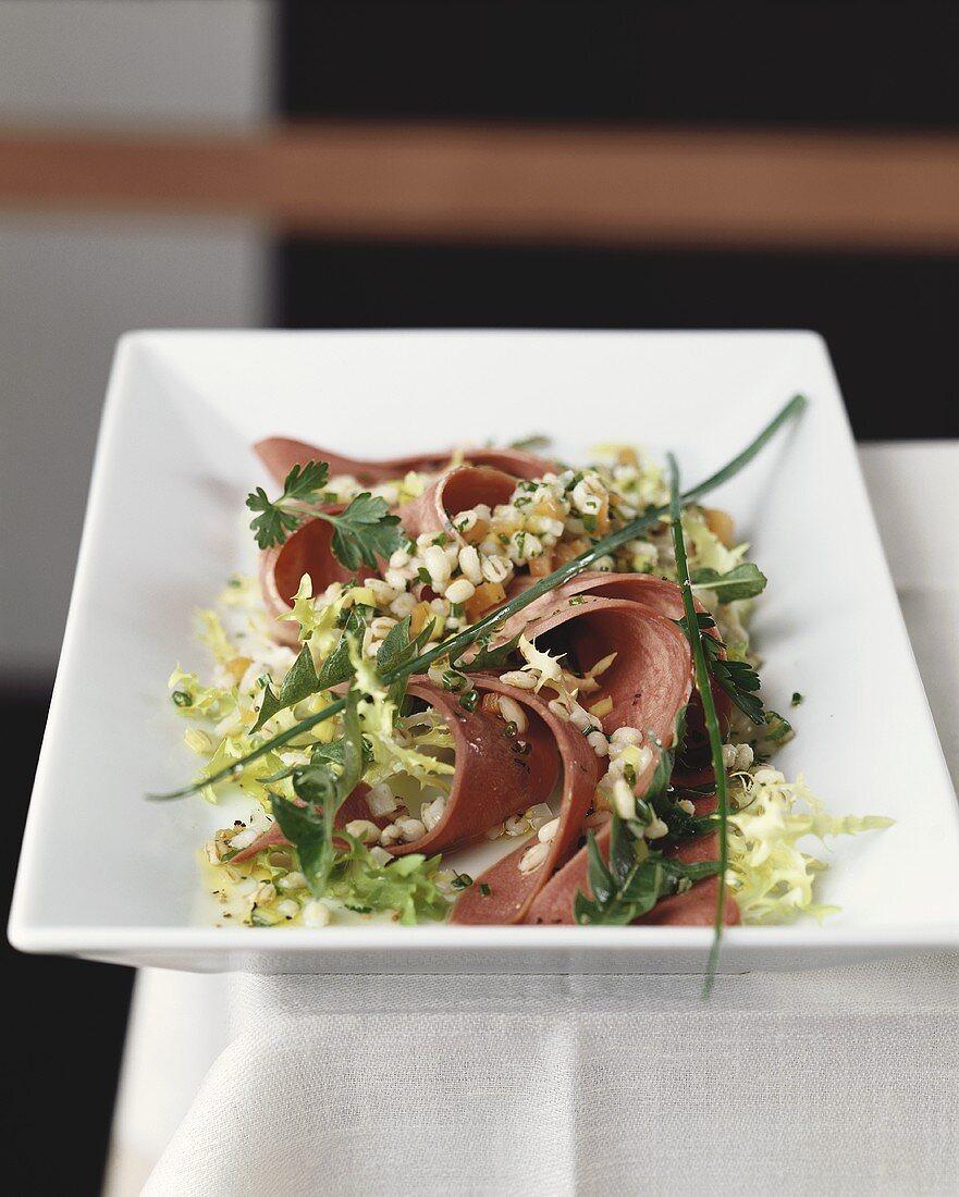 Barley salad with veal tongue