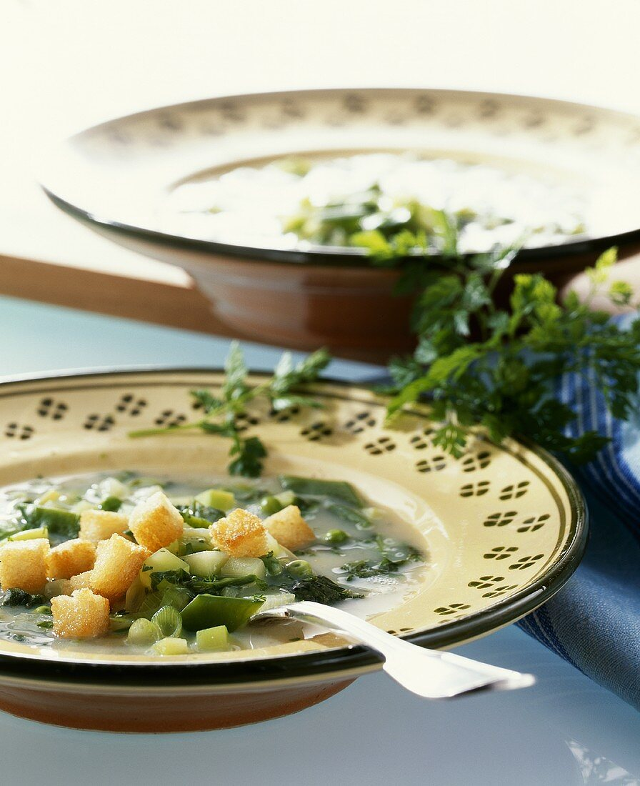 Cucumber soup with croutons (Mecklenburg-Western Pomerania)