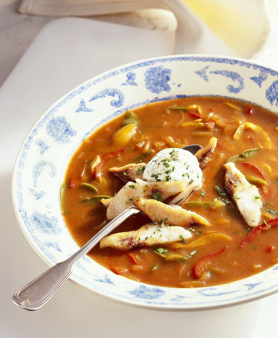 Pepper soup with carp fillet and crème fraîche