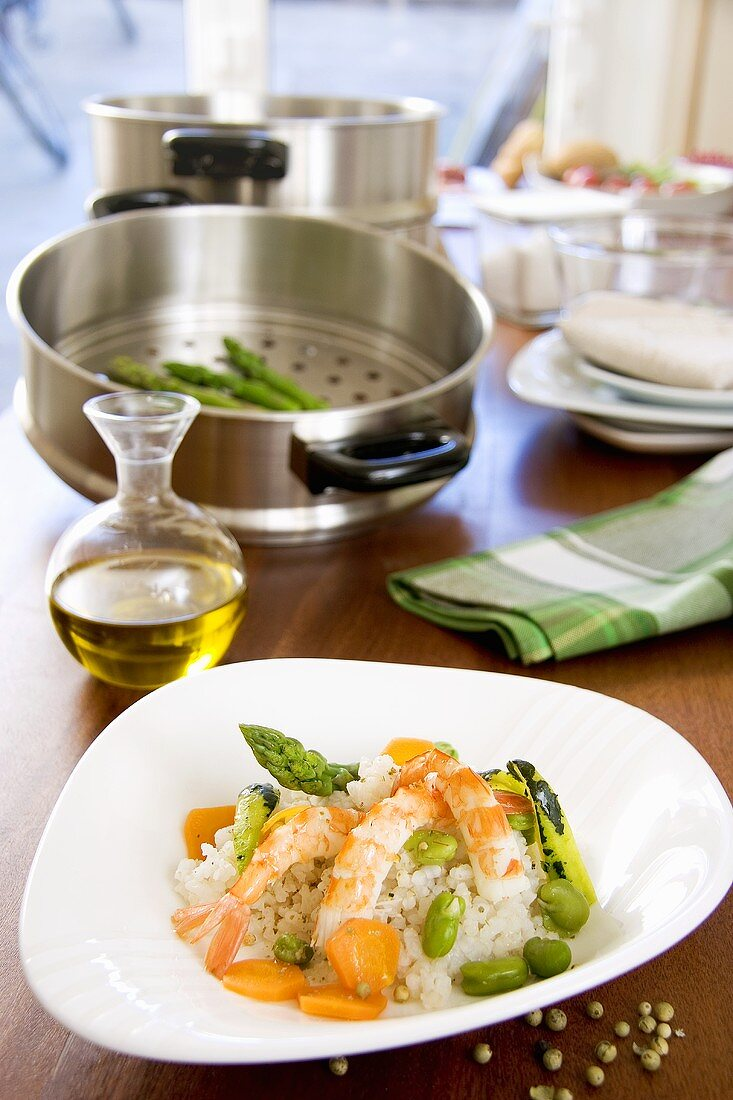 Rice with prawns and spring vegetables