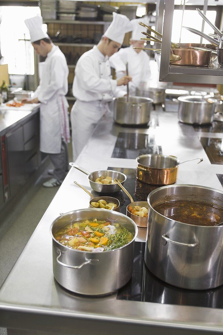 Chefs At Work In A Commercial Kitchen License Images 264072 Stockfood